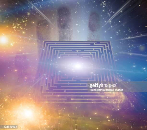 maze stars and other elements - glühend stock illustrations