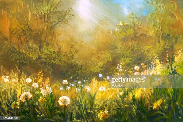 Meadow of dandelions, oil painting