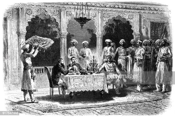 a meal at the radshah of myhere, india - 1877 stock illustrations, clip art, cartoons, & icons