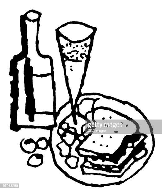 meal - wine stock illustrations