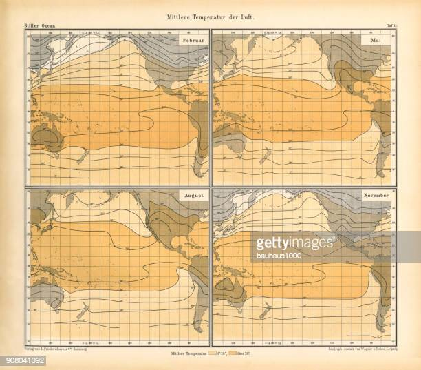 Mean Temperature of the Air Chart, Pacific Ocean, German Antique Victorian Engraving, 1896