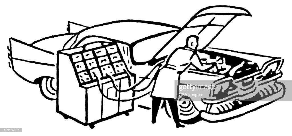 Mechanic Charging Car Engine Stock Illustration | Getty Images