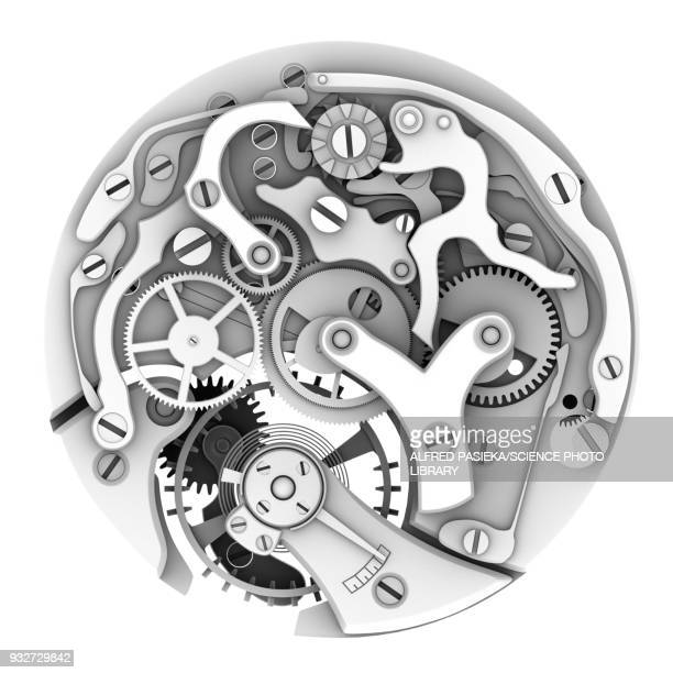 mechanical watch interior, illustration - machine part stock illustrations