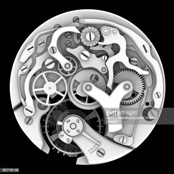 Mechanical watch interior, illustration