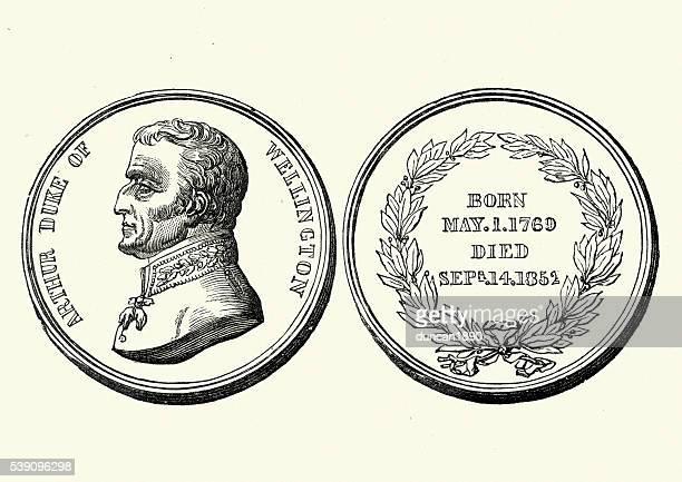 medal celebrating the life of the duke of wellington - medallion stock illustrations, clip art, cartoons, & icons