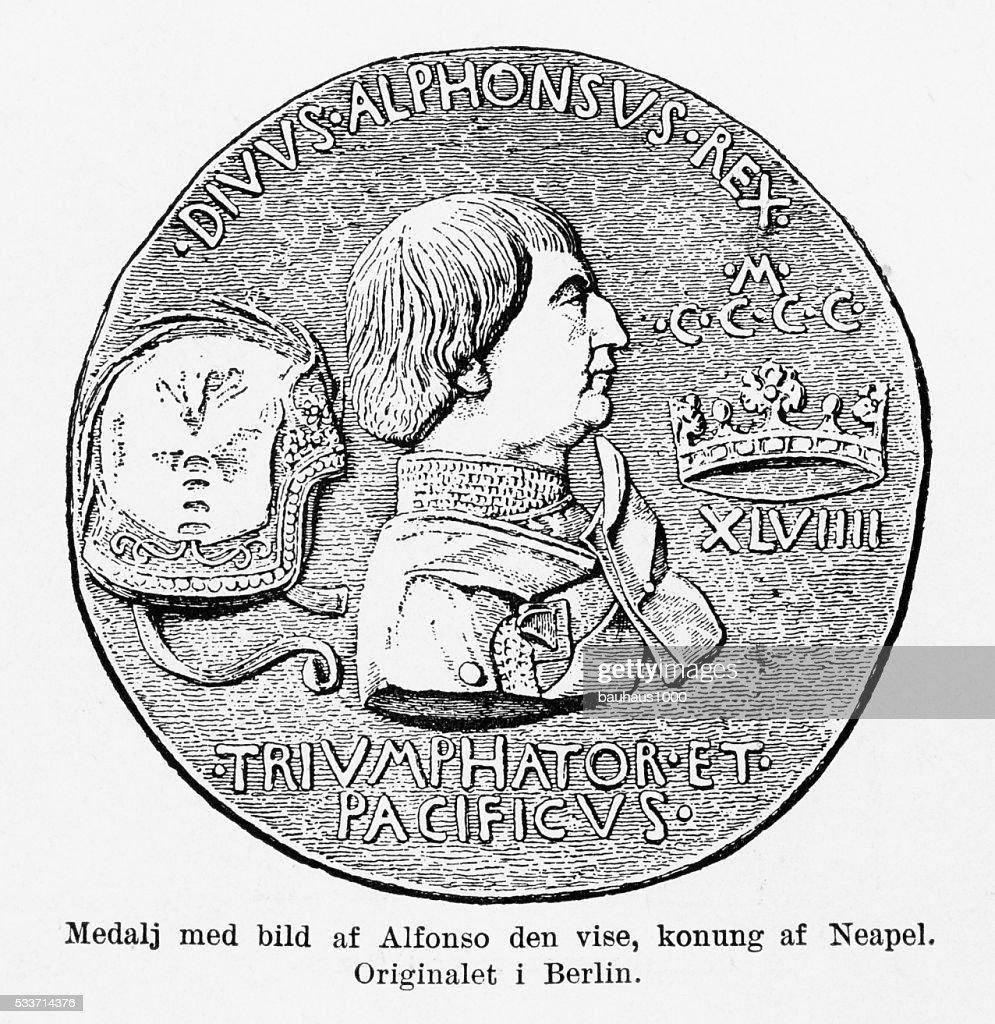 Medaglia Alfonso saggi, re di Napoli in rilievo : Illustrazione stock