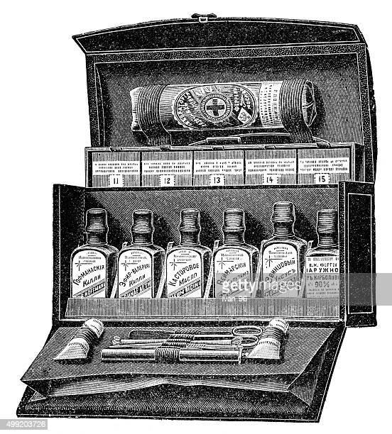 medic kit - laboratory flask stock illustrations