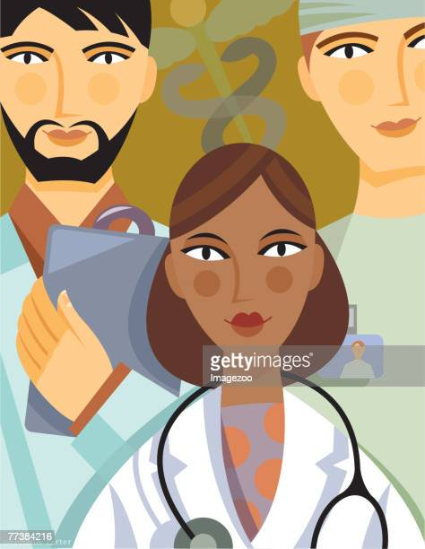 medical staff - operating gown stock illustrations, clip art, cartoons, & icons
