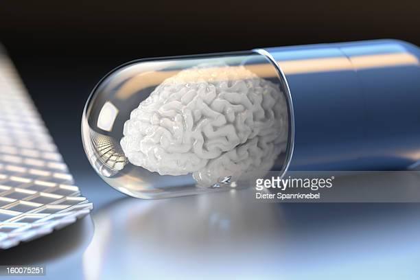 stockillustraties, clipart, cartoons en iconen met medicament capsule with white brain inside - ziekte van alzheimer