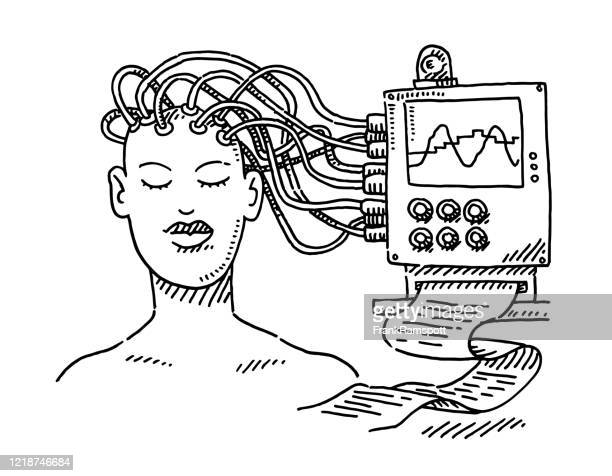 stockillustraties, clipart, cartoons en iconen met medicine sleep research concept tekening - oscilloscoop