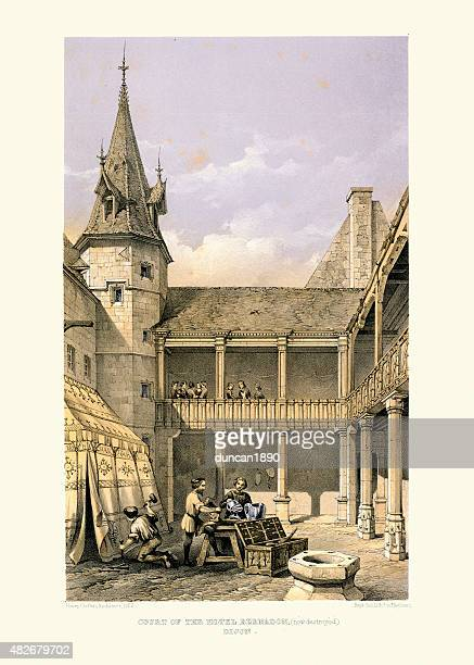 medieval architecture - court of the hotel bernadon, dijon - dijon stock illustrations, clip art, cartoons, & icons