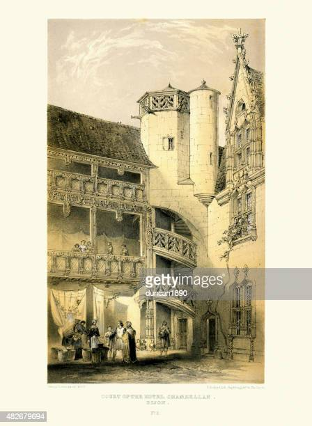 medieval architecture - court of the hotel chambellan - dijon stock illustrations, clip art, cartoons, & icons