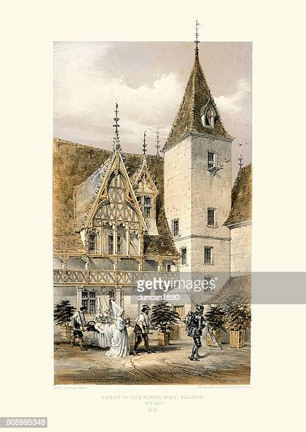 medieval architecture - court of the hotel dieu, beaune - auvergne rhône alpes stock illustrations, clip art, cartoons, & icons