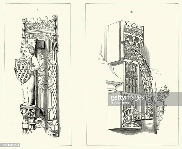 illustrations, cliparts, dessins animés et icônes de une architecture de style médiévale-porte knockers - marteaudeporte