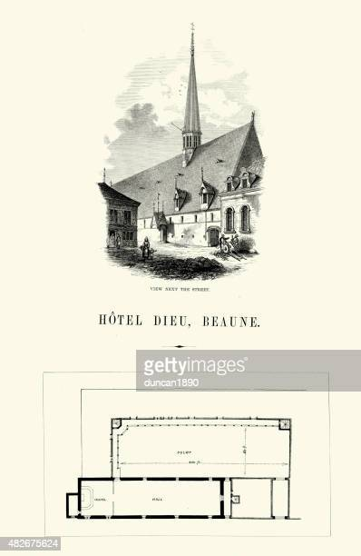 medieval architecture - hotel dieu, beaune - spire stock illustrations, clip art, cartoons, & icons
