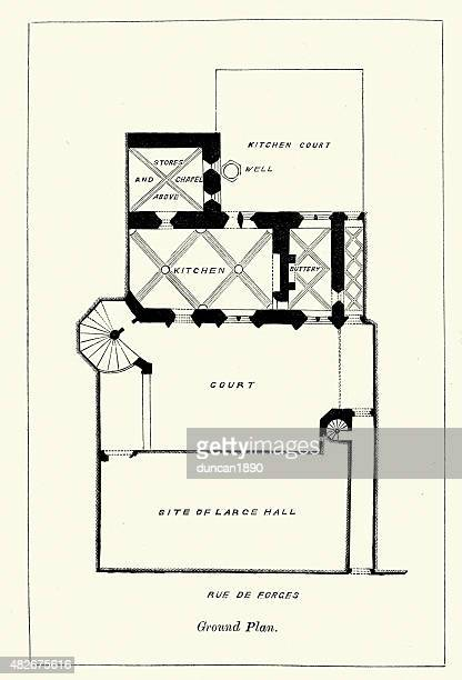 medieval architecture - plan of the hotel chambellan - dijon stock illustrations, clip art, cartoons, & icons