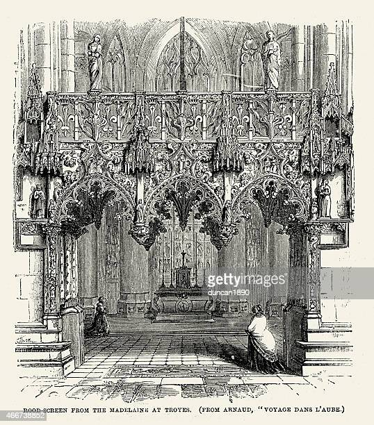 medieval architecture - rood screen from the madelaine at troyes - champagne region stock illustrations, clip art, cartoons, & icons