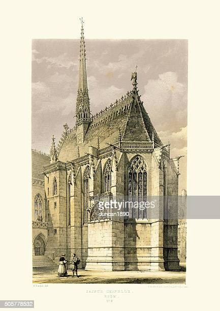 medieval architecture - sainte-chapelle in riom - chapel stock illustrations, clip art, cartoons, & icons