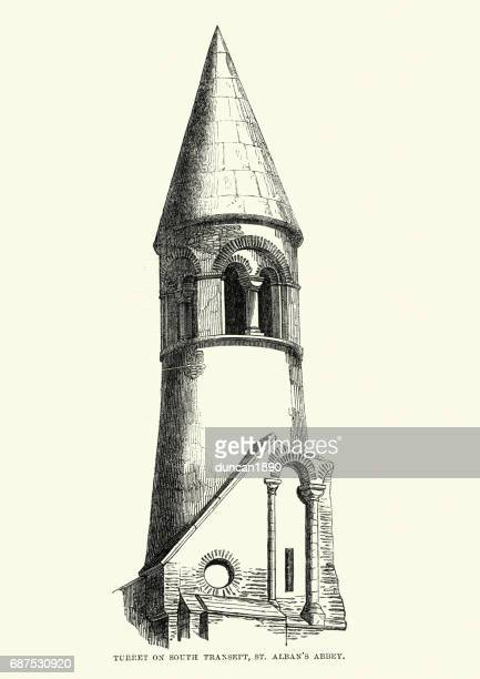 medieval architecture - turret on st albans cathedral - st. albans stock illustrations