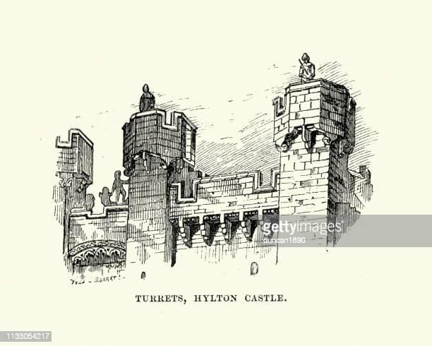 medieval architecture, turrets, hylton castle, sunderland - northeastern england stock illustrations, clip art, cartoons, & icons