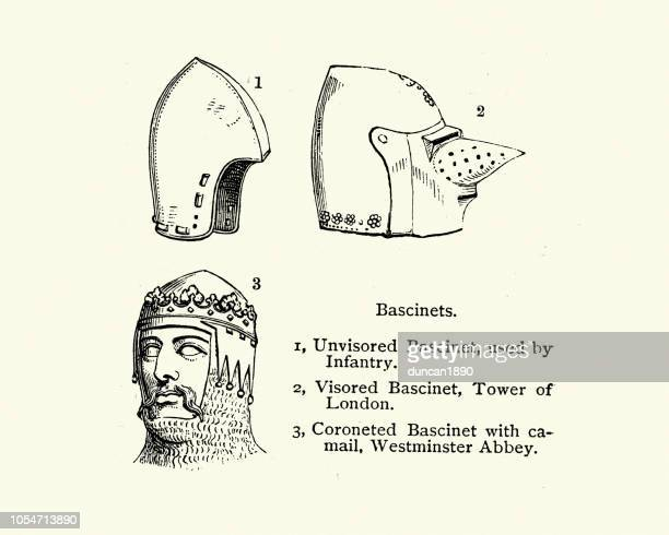 medieval armour, bascinet helmets - helmet visor stock illustrations, clip art, cartoons, & icons
