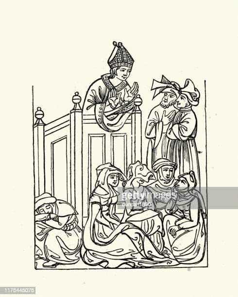 ilustrações, clipart, desenhos animados e ícones de bispo medieval que pregou do púlpito - bishop clergy