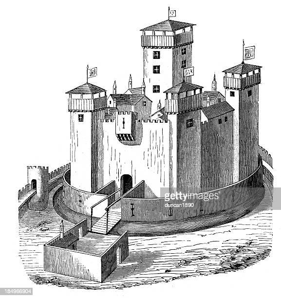 medieval castle - moat stock illustrations
