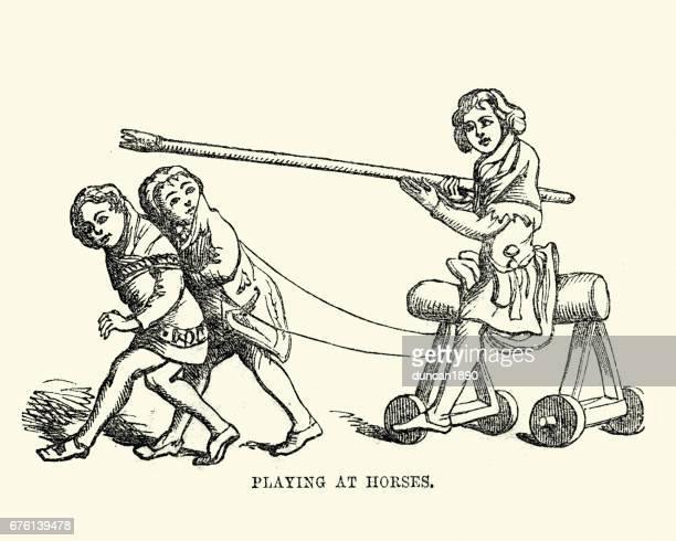 Medieval children palying at jousting