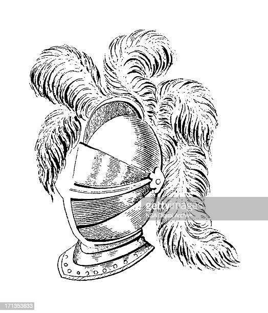 medieval close helm   antique military illustrations - army helmet stock illustrations