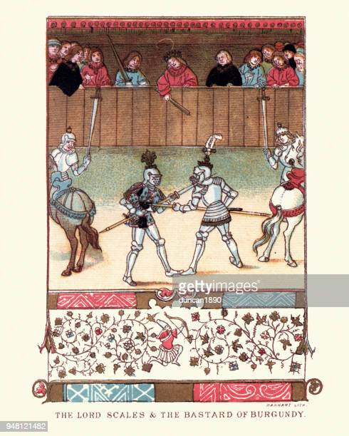 medieval combat, lord de scales fight the bastard of burgundy - halberd stock illustrations