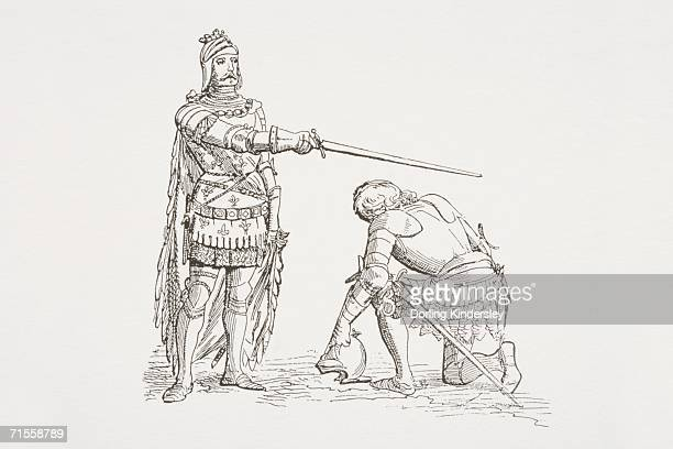 medieval dubbing ceremony with two knights, one standing and holding his sword horizontally above the head of the other who is kneeling. - other stock illustrations, clip art, cartoons, & icons