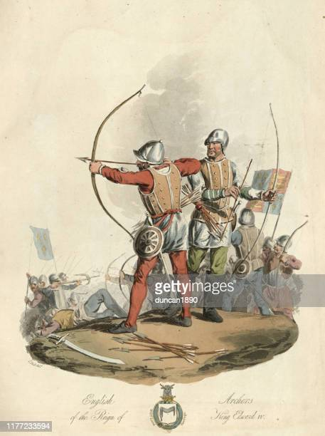 medieval english archers from reign of king edward iv - archery stock illustrations