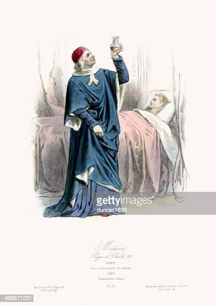 medieval fashion - doctor - circa 15th century stock illustrations, clip art, cartoons, & icons
