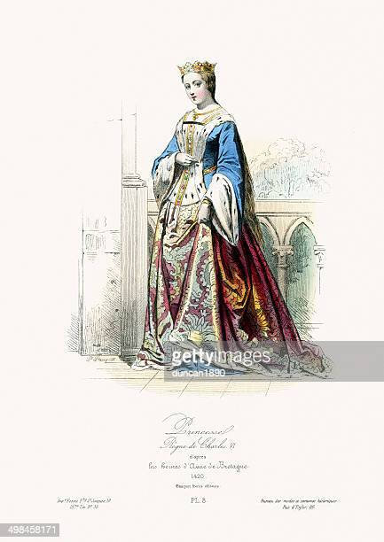 medieval fashion french princess - princess stock illustrations