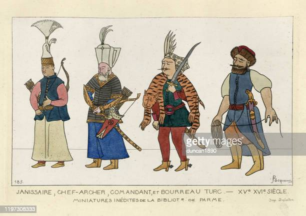 medieval fashion, janissaries, chief archer, commander, and turkish executioner - ottoman empire stock illustrations