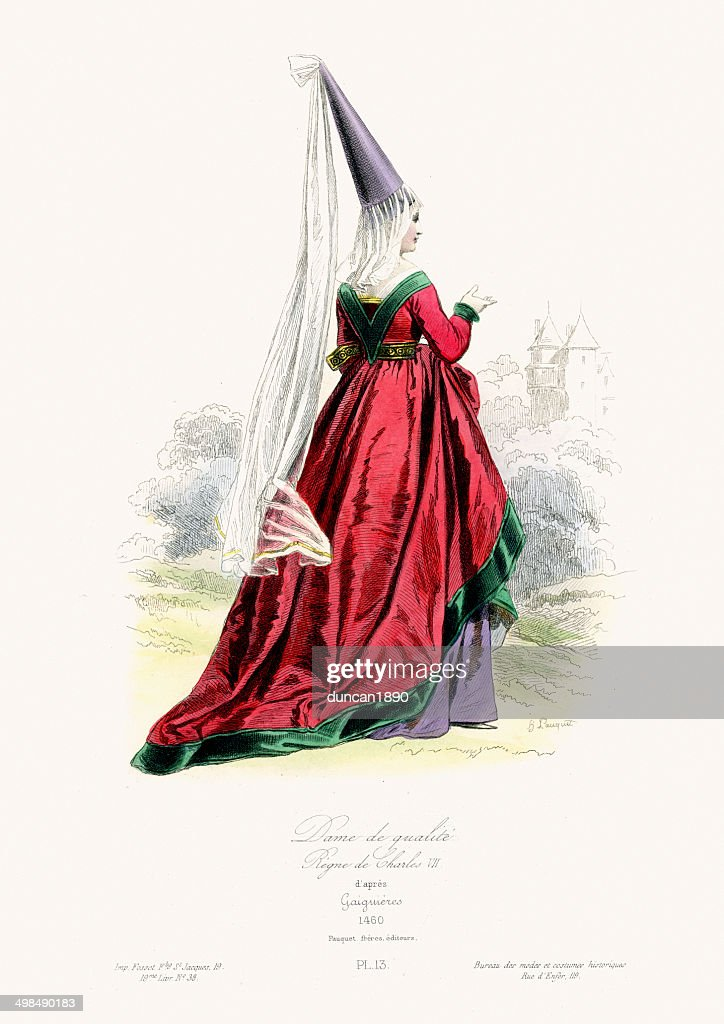 Medieval Fashion - Lady of Quality : stock illustration
