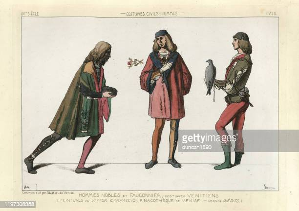 medieval fashion, noble men and falconer of venice, 15th century - falconry stock illustrations