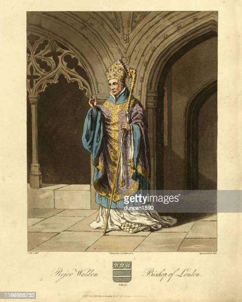 ilustrações, clipart, desenhos animados e ícones de moda medieval, roger walden tesoureiro inglês e bispo de londres - bishop clergy