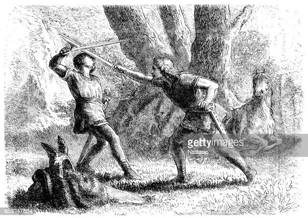 medieval fight : duel - dueling stock illustrations, clip art, cartoons, & icons