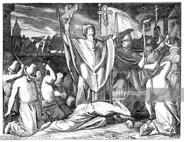 Medieval flagellants praying for protection against the plague