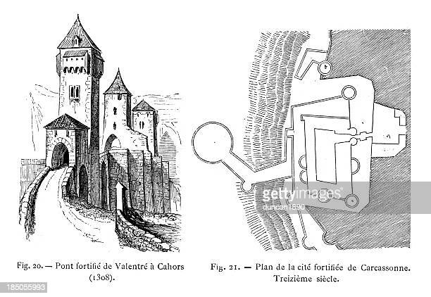 medieval fortifications - midi pyrénées stock illustrations, clip art, cartoons, & icons