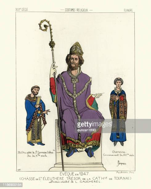 medieval french bishop, abbot and canon (priest), mid 13th century - bishop clergy stock illustrations, clip art, cartoons, & icons