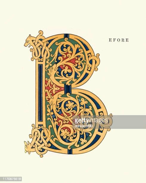 illustrazioni stock, clip art, cartoni animati e icone di tendenza di carattere alfabeto medievale - lettera b