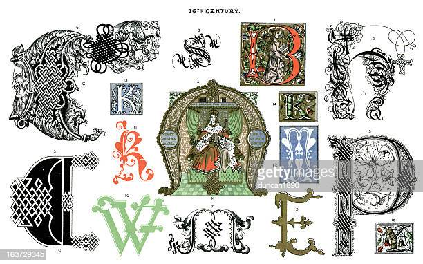 medieval illuminated letters - letter m stock illustrations, clip art, cartoons, & icons