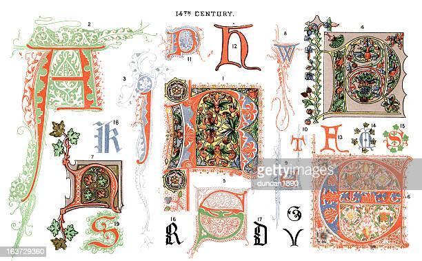 medieval illuminated letters - circa 14th century stock illustrations