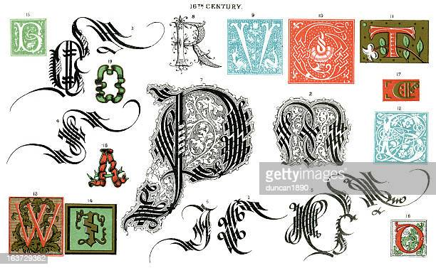 medieval illuminated letters - 16th century style stock illustrations