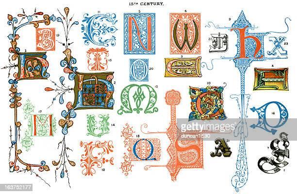 ilustrações de stock, clip art, desenhos animados e ícones de letras iluminada - letrac