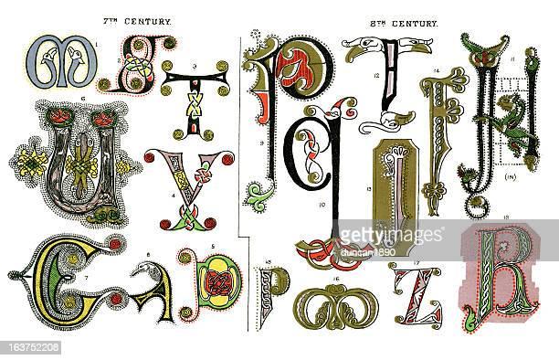 medieval illuminated letters - {{asset.href}} 幅插畫檔、美工圖案、卡通及圖標