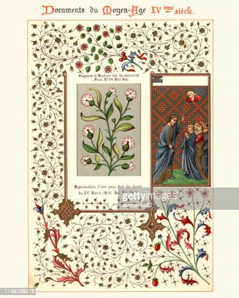 medieval illuminated manuscript, jesus preaching, floral design - manuscript stock illustrations