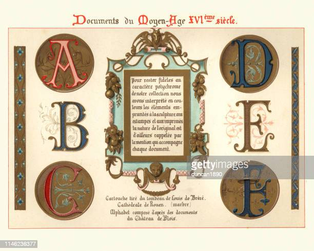 medieval illuminated manuscript letters and design elements, 15th century - letter a stock illustrations